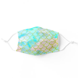 Mermaid Scales Pastel Gold Teal Glitter Pattern Adult Cloth Face Mask