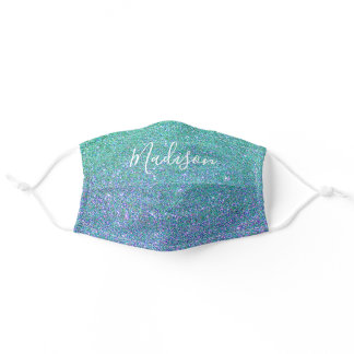 Mermaid Teal Blue Glitter Sparkle Personalized Adult Cloth Face Mask