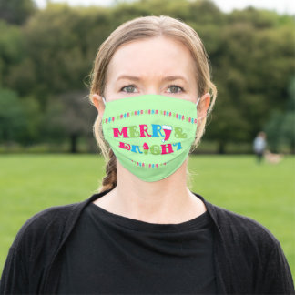 Merry and Bright Hot Pastel Christmas Adult Cloth Face Mask
