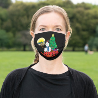 Merry Chrismukkah Snowman with Menorah on Black Adult Cloth Face Mask