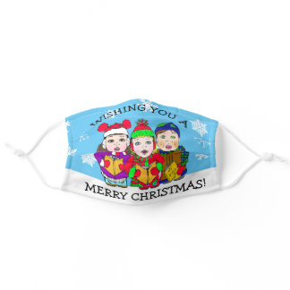 Merry Christmas Carolers Festive Holiday Adult Cloth Face Mask