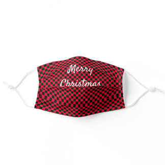 Merry Christmas Checkerboard Patterns Red Black Adult Cloth Face Mask