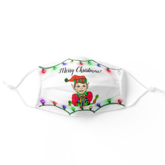 Merry Christmas Elf and Lights Festive Holiday Adult Cloth Face Mask