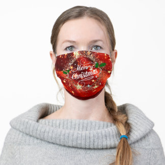 Merry Christmas glitter and shine holiday design Adult Cloth Face Mask