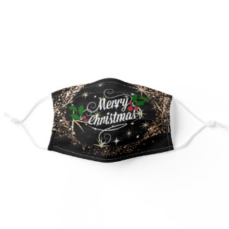 Merry Christmas glitter and sparkle holiday design Adult Cloth Face Mask