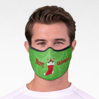 Merry Christmas Gnome in Red Stocking Green Swirls Premium Face Mask