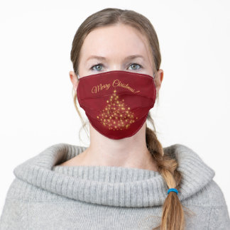 Merry Christmas Golden Lights Tree on Crimson Red Adult Cloth Face Mask