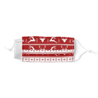 Merry Christmas Mask  Reindeer Red & White
