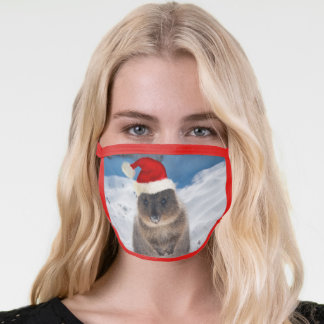 Merry Christmas Quokka on the Beach Red Face Mask
