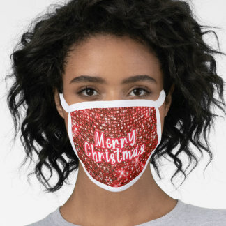 Merry Christmas red glitter sparkling xmas wishes Face Mask