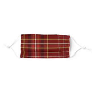 Merry Christmas Red Gold Plaid Monogram Name Adult Cloth Face Mask