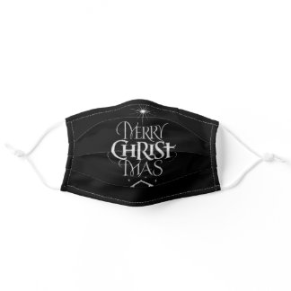Merry CHRISTmas Religious Chalkboard Calligraphy Adult Cloth Face Mask