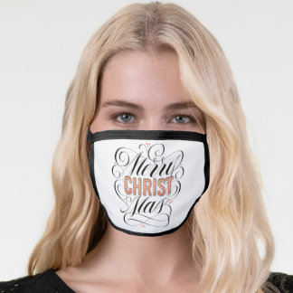 Merry CHRISTmas Religious Red Marquee Calligraphy Face Mask