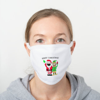 Merry Christmas Santa and Elf in Facemask White Cotton Face Mask