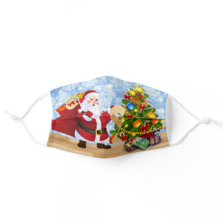 Merry Christmas Santa Claus Checking His List Adult Cloth Face Mask