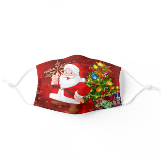 Merry Christmas Santa Claus Decorated Tree Comfort Adult Cloth Face Mask