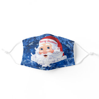 Merry Christmas Santa Claus Snow Personalize Text Adult Cloth Face Mask