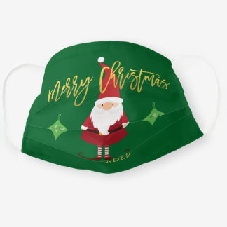 Merry Christmas Santa Gnome Personalized Holiday Cloth Face Mask