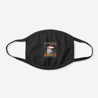 Merry Christmas Siberian Cat Ugly Sweater Sa Black Cotton Face Mask