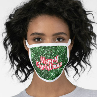 Merry Christmas typography greeting green glitter Face Mask