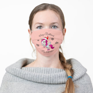 Merry Christmas unicorn & snowflakes personalized Adult Cloth Face Mask