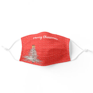 Merry Christmas white tree Adult Cloth Face Mask