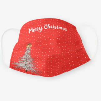 Merry Christmas white tree Cloth Face Mask