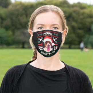 Merry Woofmas French Spaniel X-Mas Adult Cloth Face Mask