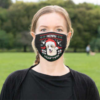 Merry Woofmas Great Pyrenees X-Mas Adult Cloth Face Mask
