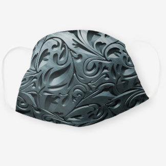 Metal silver metallic engraved abstract steel cloth face mask