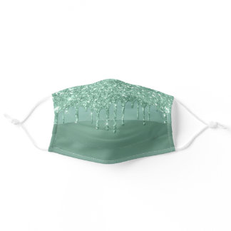 Metallic Green Drip | Elegant Neo Mint Icing Adult Cloth Face Mask