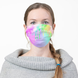 Metallic Melting Cotton Candy Rainbow Iridescent Adult Cloth Face Mask