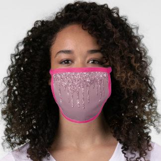 Metallic Pink Drip | Dusty Mauve Shimmer Drizzle Face Mask