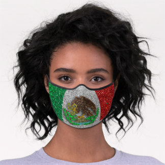 Mexican Flag Glitter Mexico Red and Green Travel Premium Face Mask