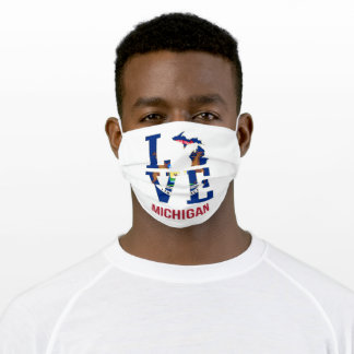 Michigan state love adult cloth face mask