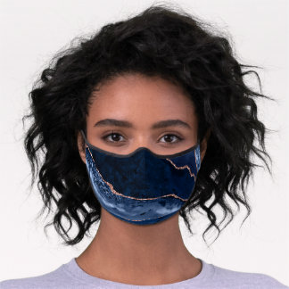 Midnight Blue Agate Abstract With Rose Gold Detail Premium Face Mask