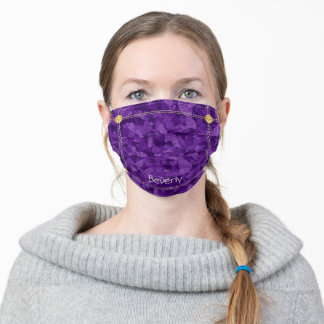 Military Chic Purple Camo Stained Glass Denim Adult Cloth Face Mask