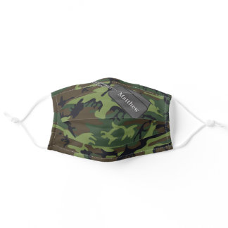 Military Green, Brown Camo Camouflage Name Adult Cloth Face Mask