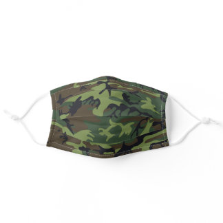 Military Green, Brown Camo Camouflage Pattern Adult Cloth Face Mask
