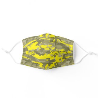Military Green, Yellow, Khaki Camo Camouflage Adult Cloth Face Mask