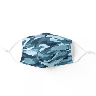 Military Teal Green, Teal Blue, Camo Camouflage Adult Cloth Face Mask