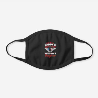 Military Veteran Daughter - Daddy's Little Girl Black Cotton Face Mask