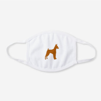 miniature pinscher red dsilhouette white cotton face mask