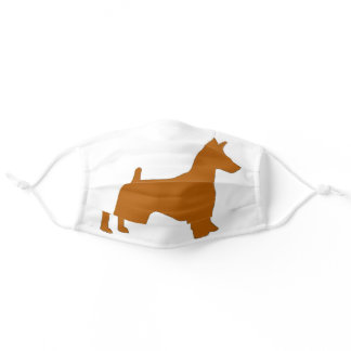 miniature pinscher red silhouette adult cloth face mask