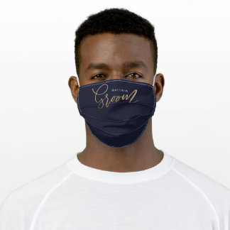 Minimal Groom Brush Script Gold Typographic Navy Adult Cloth Face Mask