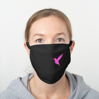 Minimal Hot Pink Hummingbird Art Black Cotton Face Mask