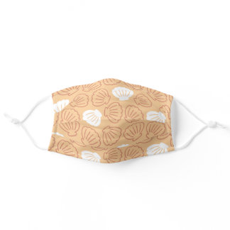 Minimal Seashell pattern in light orange Adult Cloth Face Mask