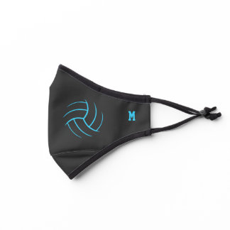 minimal volleyball turquoise black monogrammed premium face mask