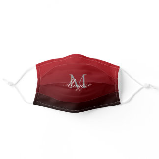 minimalist abstract marsala red burgundy monogram adult cloth face mask