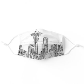 Minimalist Black and White Seattle Skyline Adult Cloth Face Mask